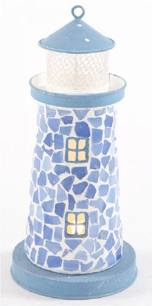 Leuchtturm Mosaik blau