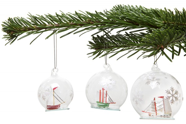 Christbaumkugel Segelschiff 3er Set