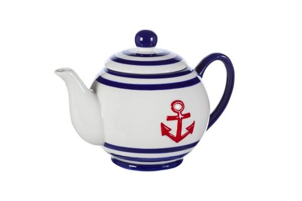 teekanne blau rot wei anker keramik seemotive geschirr porzellan maritim wohnen mare. Black Bedroom Furniture Sets. Home Design Ideas
