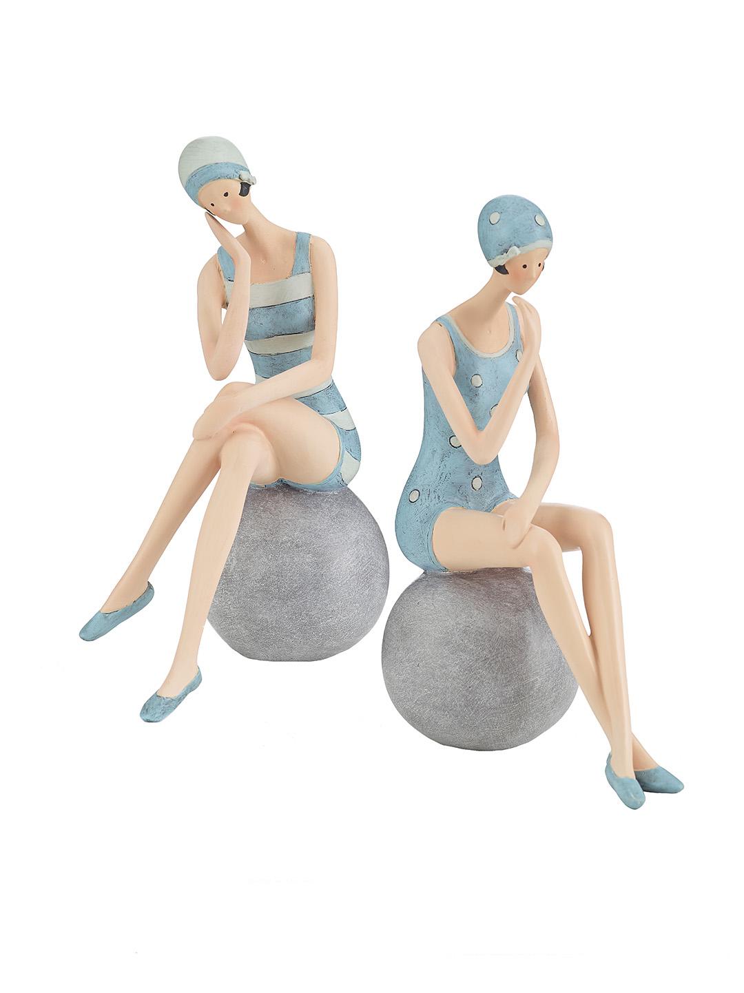 Figuren damen auf ball t rkis figuren deko figuren Maritime deko figuren