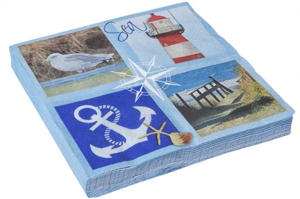 Blaue Papierserviette Anker Leuchtturm