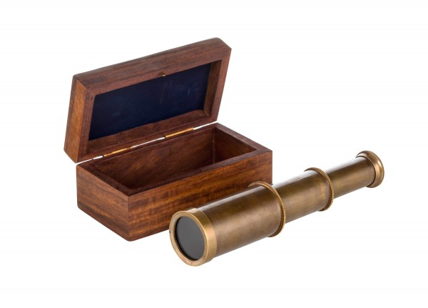 Teleskop fernrohr antik in der holzbox mare me maritime