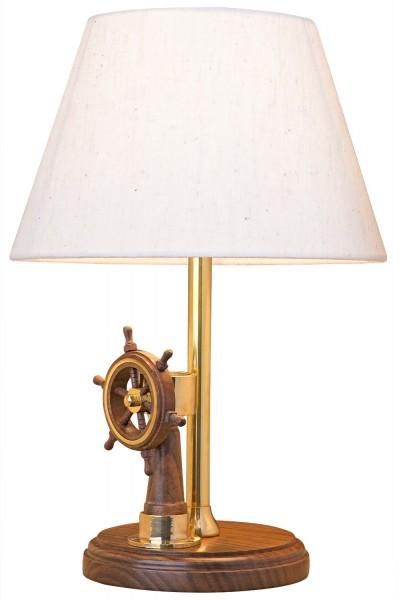tischlampe mit steuerrad leuchten holz messing maritime lampen maritim wohnen mare me. Black Bedroom Furniture Sets. Home Design Ideas