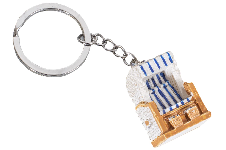 Schl sselanh nger strandkorb blau wei maritime - Holzpaddel deko ...