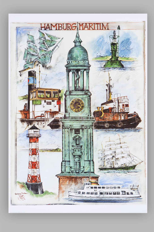 Kunstdruck Hamburg Maritim Ole West Mare Me Maritime