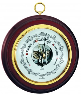 Barigo Wand-Barometer, Ø19cm Mahagoni
