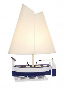 Segelboot Tischlampe 47cm weiß blau